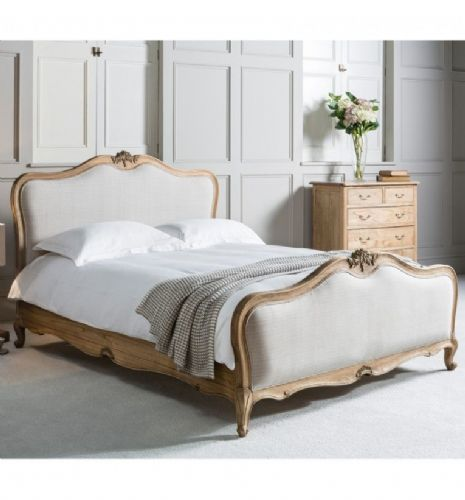 Chic Upholstered Bed Weathered Finish